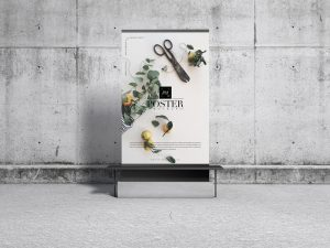 Free Concrete Environment Display Poster Mockup