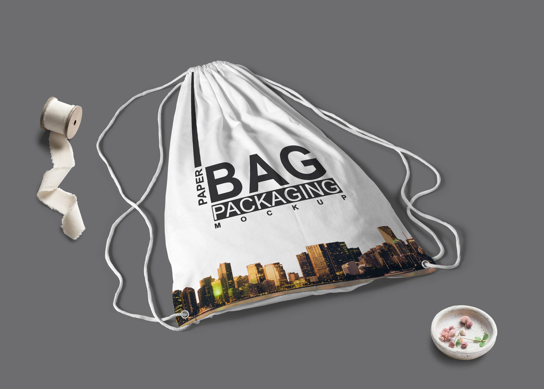 Free Drawstring Backpack Mockup