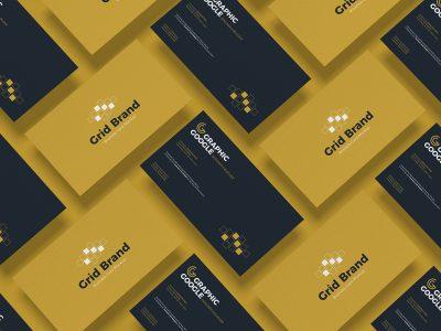 Free Grid Brand Business Card Mockup