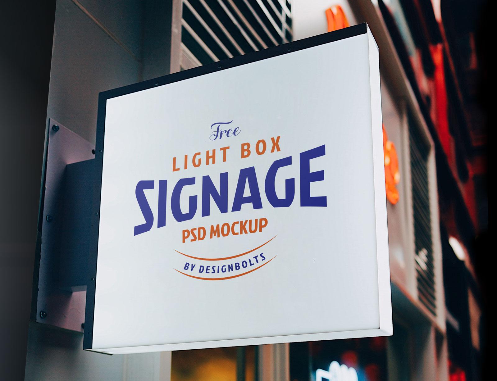 Free Light Box Signage Board Mockup