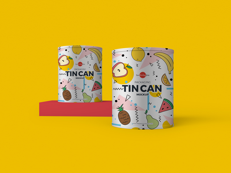 Free PSD Packaging Tin Can Mockup