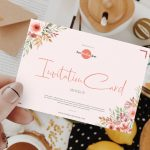 Girl Showing Invitation Card Free Mockup
