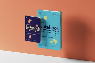 Gravity Notebook Set Free PSD Mockup