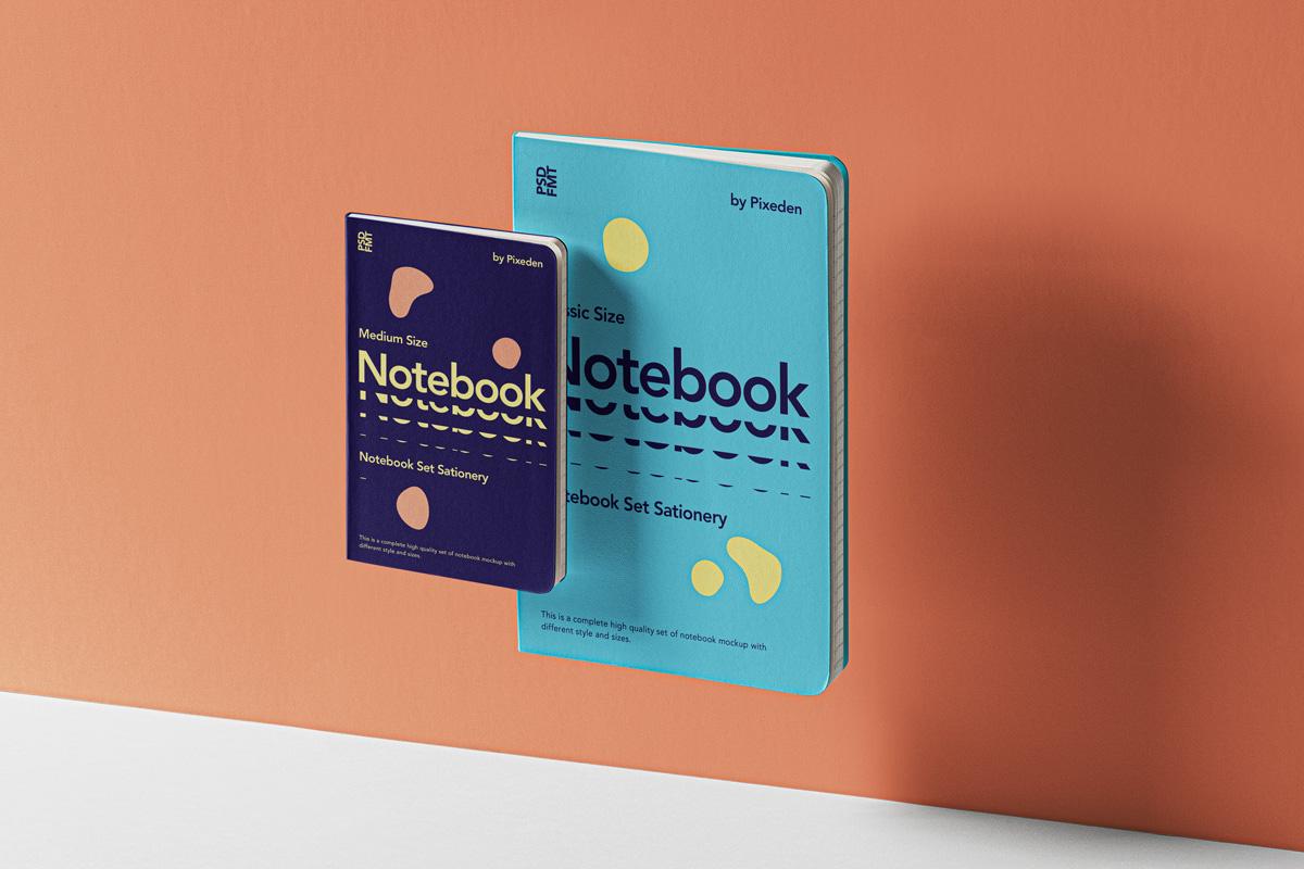 Gravity Notebook Set Free PSD Mockup