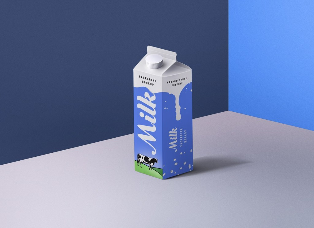 Milk Packaging Free PSD Mockup