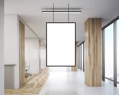 Office Indoor Hanging Poster Mockup
