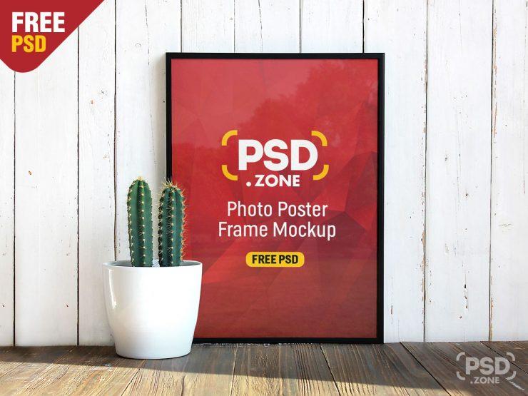 Photo Poster Frame with Flower Pot Mockup