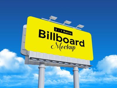 Rounded Corners Billboard Free PSD Mockup