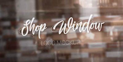 Shop Window Logo Free PSD Mockup