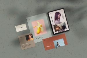 Stationery Cards Free PSD Mockup Scene