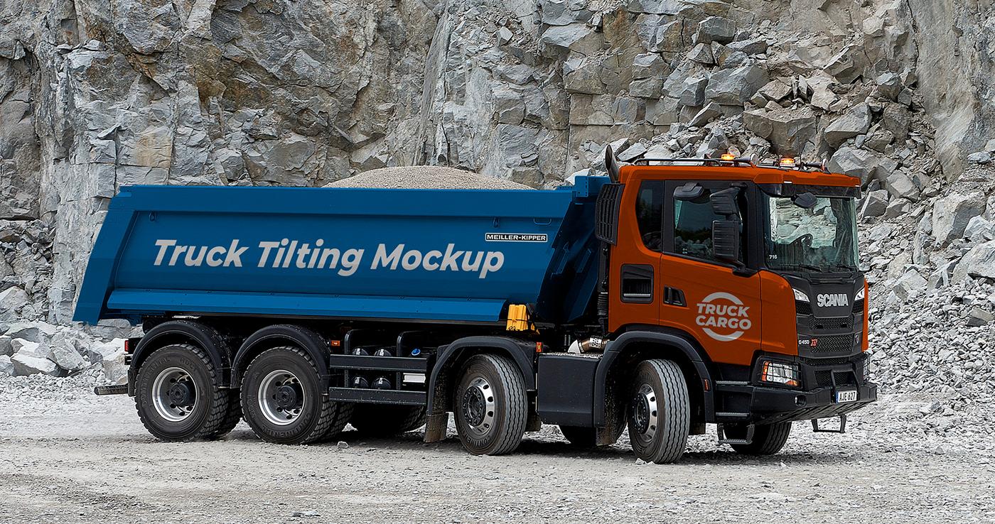 Truck Tilting Free PSD Mockup