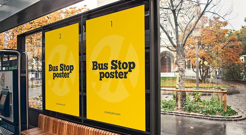 Bus Stop Poster Free PSD Mockup