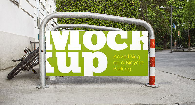Free Advertising on a Bicycle Parking PSD Mockup