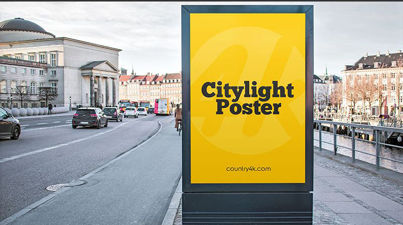 Free City light Poster Mock-ups
