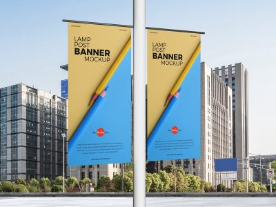Lamp Post Banners Free PSD Mockup