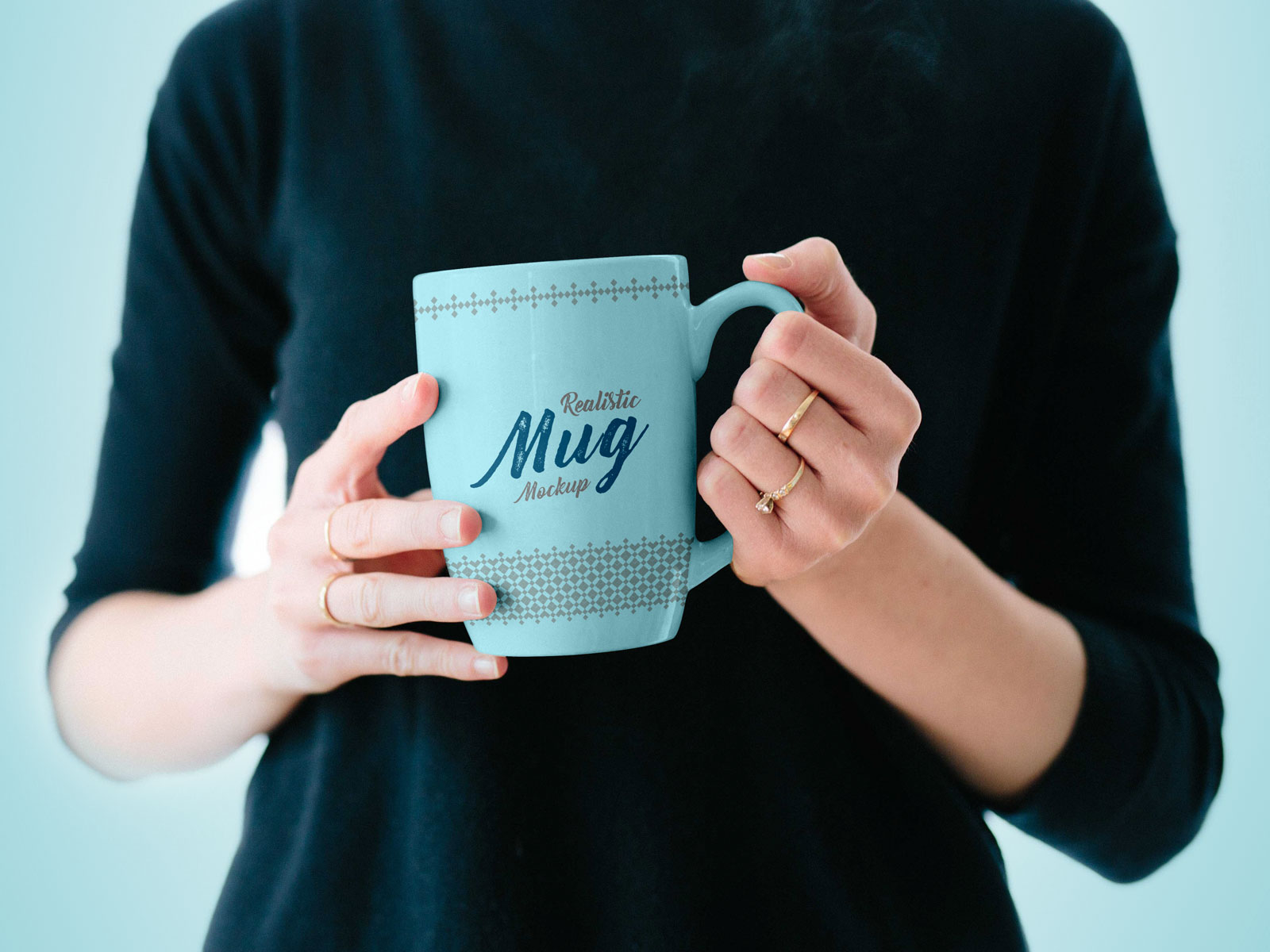 Mug in Female Hand Free PSD Mockup