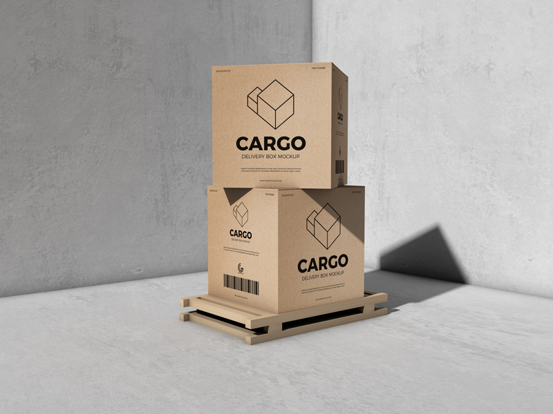 Packaging Cargo Delivery Box Free Mockup