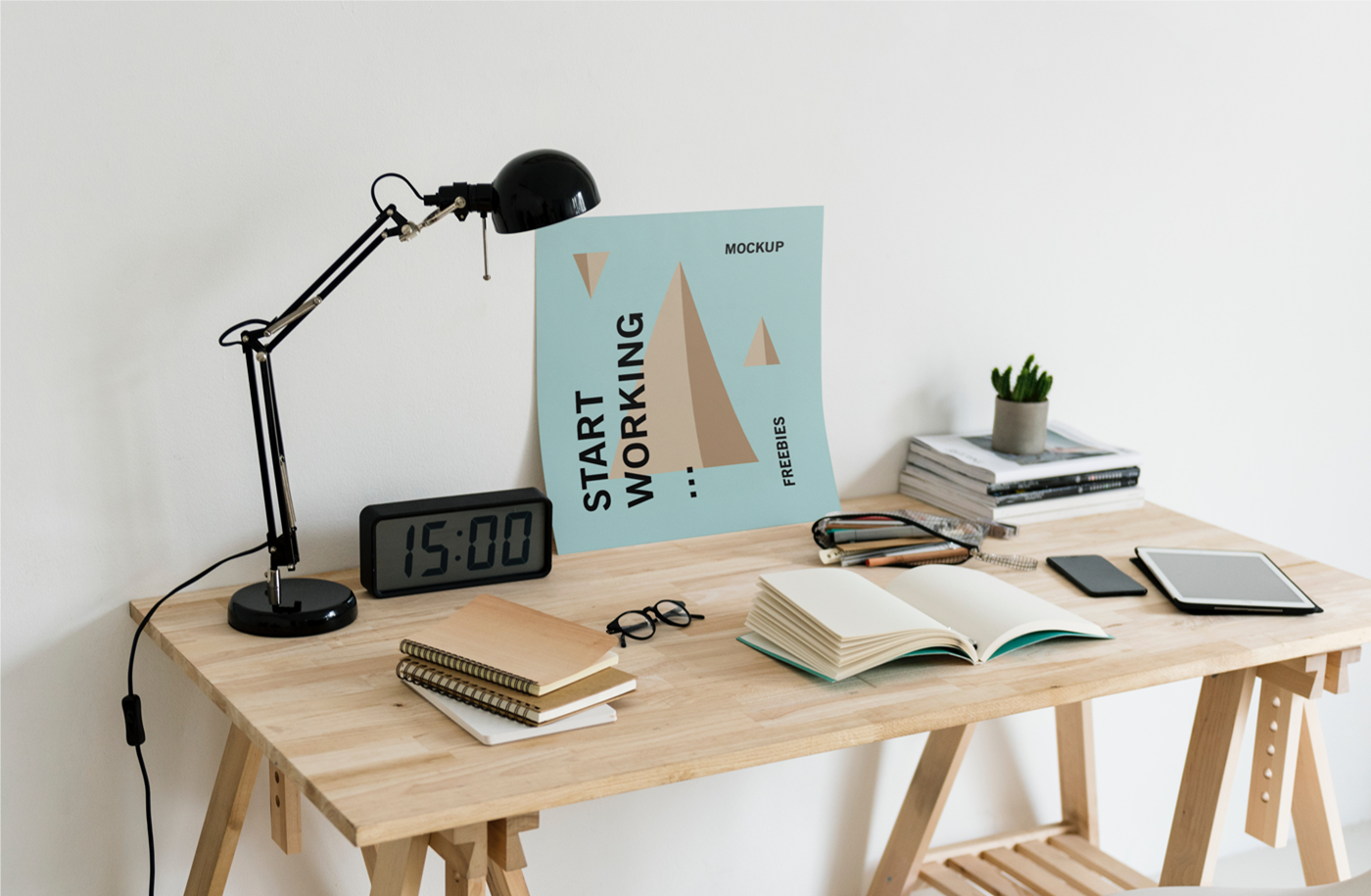 Poster on Desk Free PSD Mockup