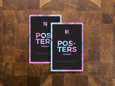 Posters on Wooden Background Free Mockup