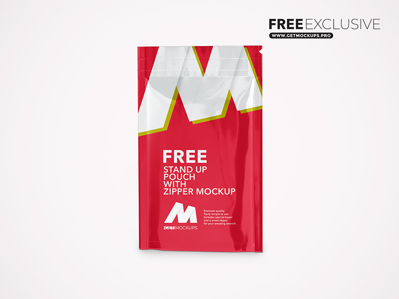 Stand Up Pouch With Zipper Free Mockup
