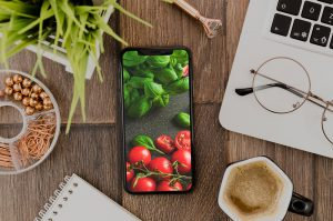 Top View iPhone on Table Free Mockup