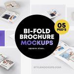 5 Bi-Fold Brochure Square Mockups