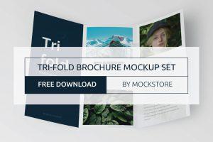 Free PSD Trifold Brochure Mockup Set