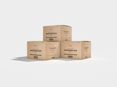 Cargo Delivery Packaging Box Free Mockup