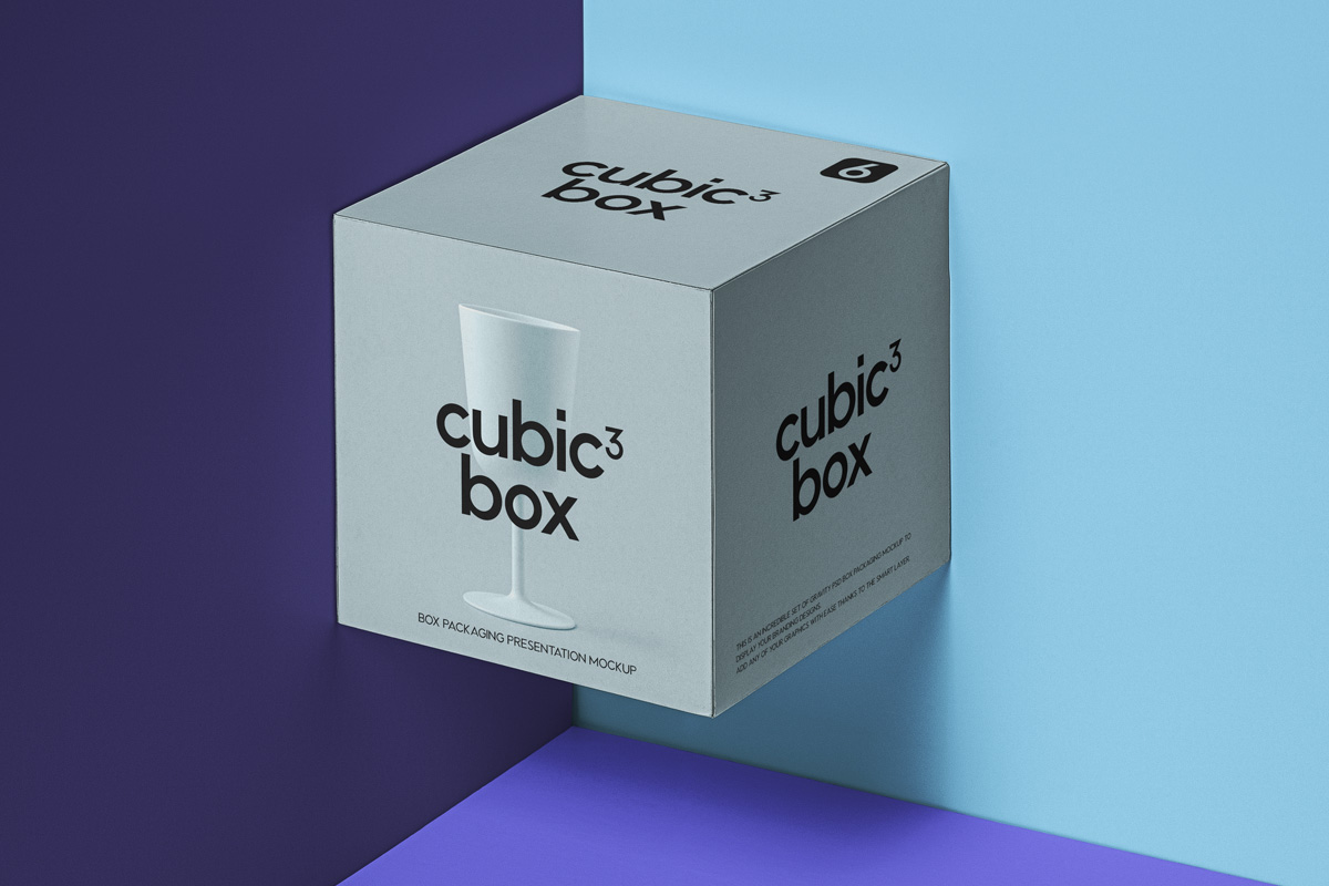 Cubic Box Packaging Free PSD Mockup