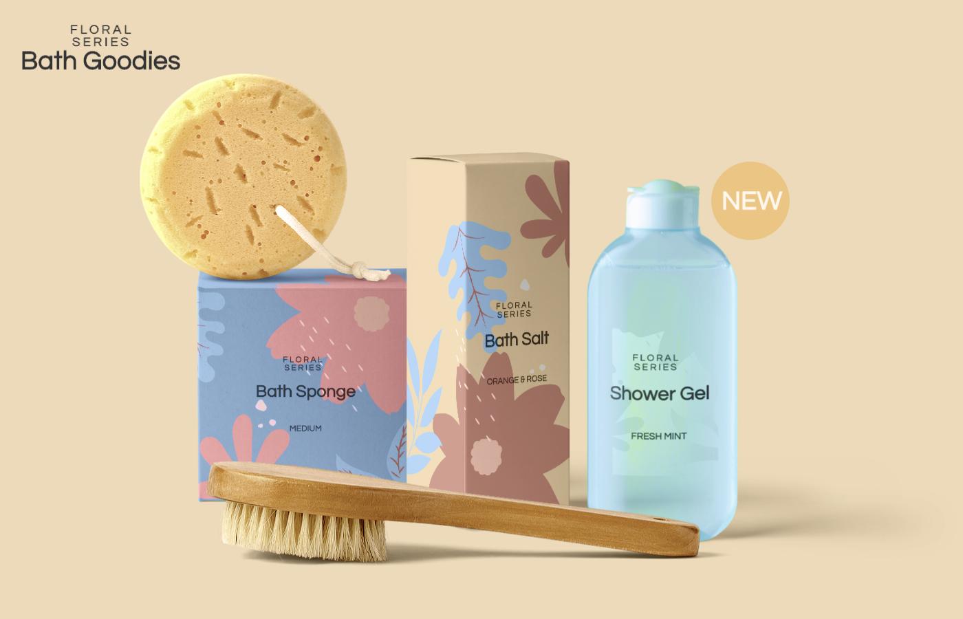 Free Bath Products Mockup Scene