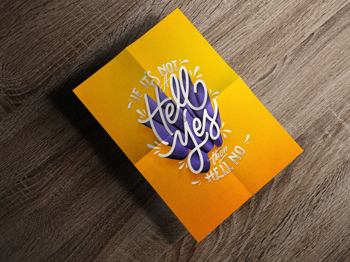 Free Folded Paper A4 Size Flyer / Poster Mockup