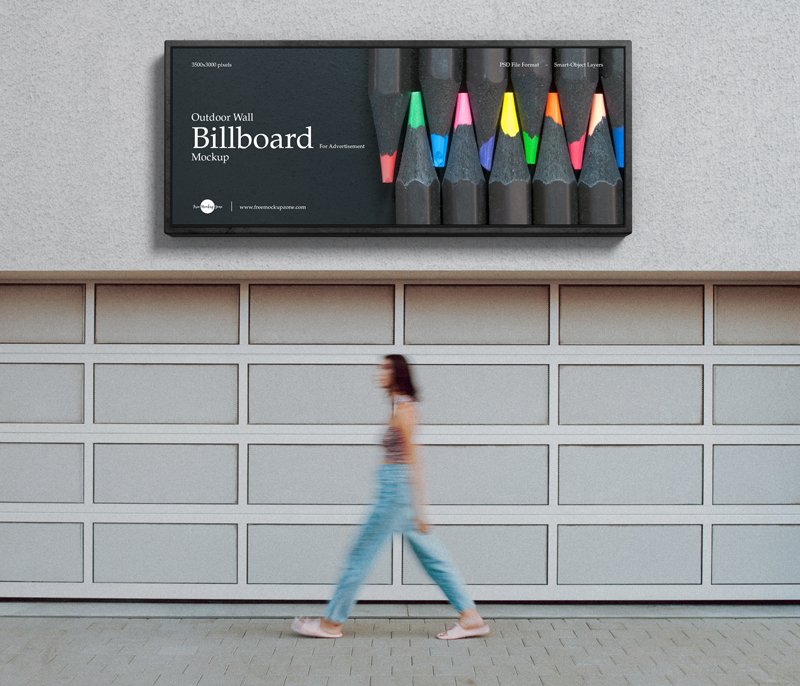 Free Outdoor Wall Billboard Mockup For Advertisement
