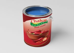 Free Red Chili Pickle Can Mockup