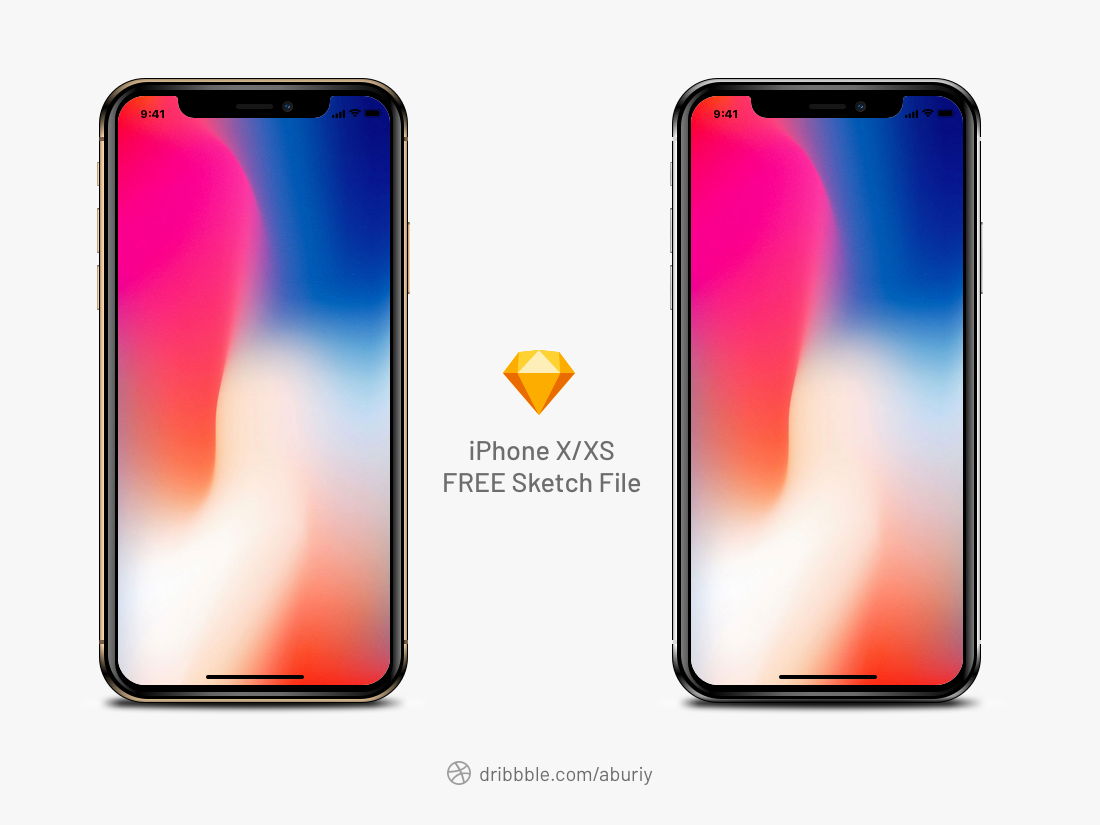 Free iPhone X/XS Realistic Mockup Sketch