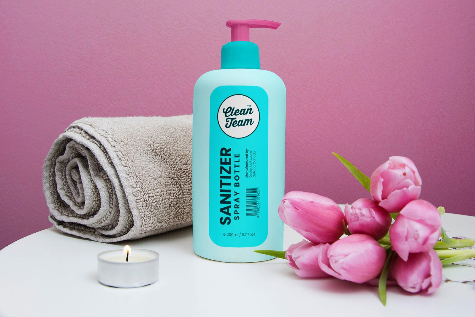 Hand Sanitizer Spray Bottle Free Mockup