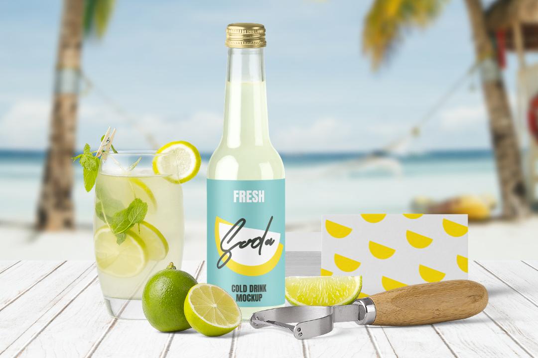 Juice Bottle & Lemonade Free Mockup Scene