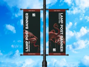 Lamp Post Banner Free PSD Mockup