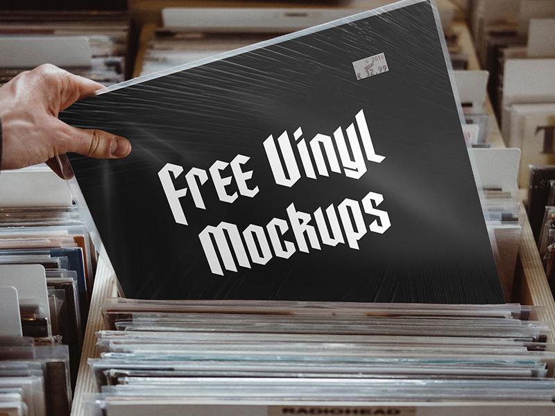 Realistic Vinyl Cover Free Mockup