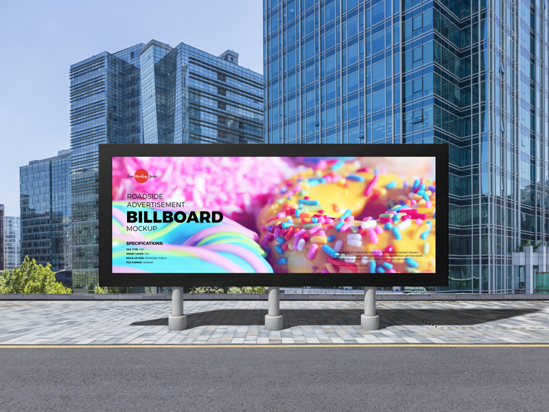Roadside Advertisement Billboard Free Mockup