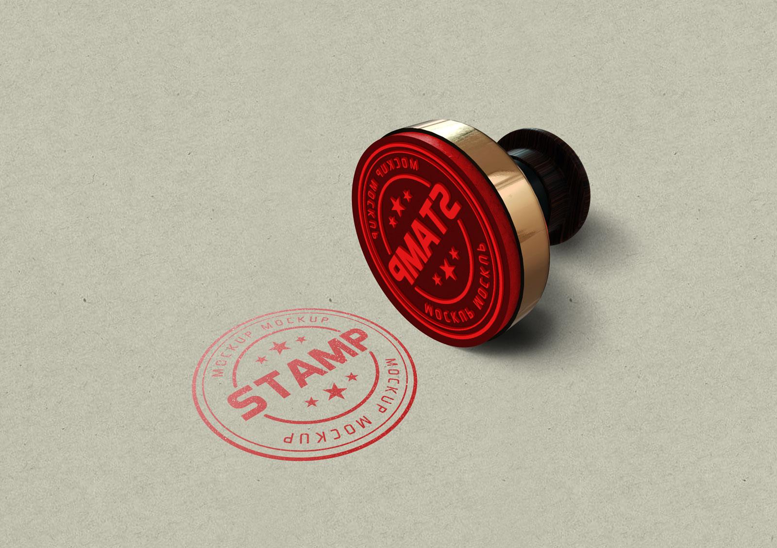 Round Stamp Free PSD Mockup