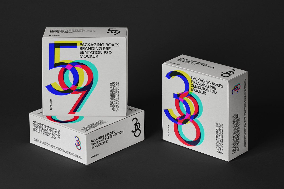 Square Boxes Packaging Free Mock-ups