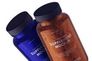 Supplement Bottle Free PSD Mockup