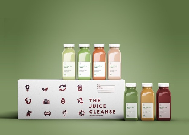 Colorful Smoothies Bottle Free PSD Mock-ups