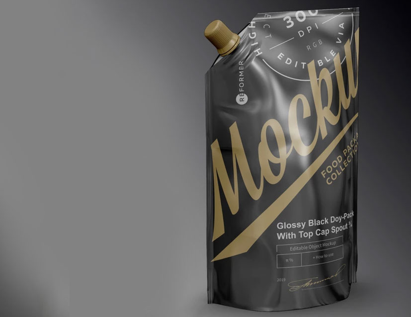 Glossy Black Doy-Pack Free PSD Mockup