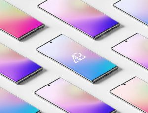 Isometric Galaxy Note 10 Pro Mockups