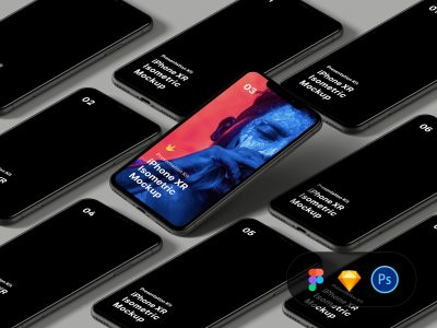 Isometric iPhone XR Free PSD Mockup