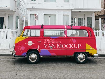 Outdoor Advertisement Van Free Mockup