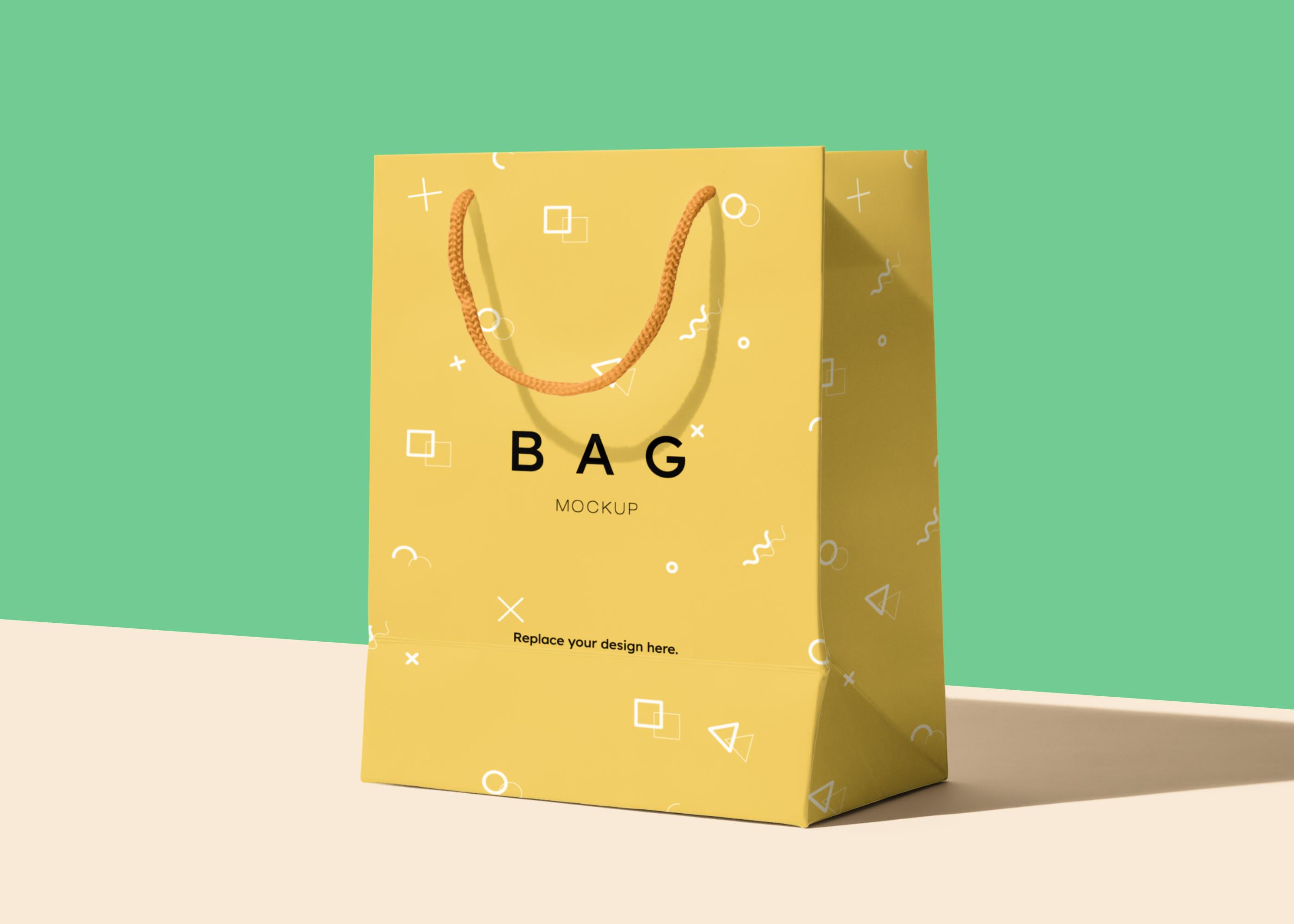 Paper Bag Free PSD Mockup Scene