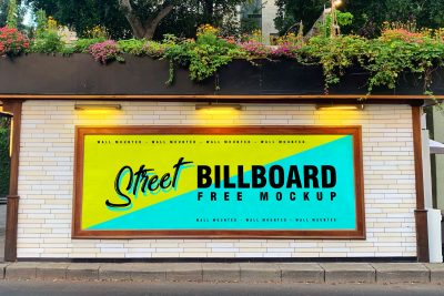 Street Wall Mounted Billboard Free Mockup