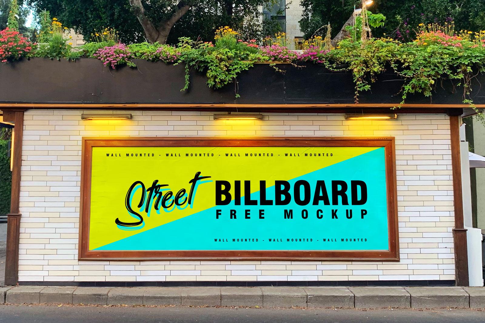 Street Wall Mounted Billboard Free Mockup